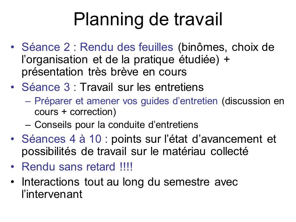 Planning de travail Séance 2 : Rendu des feuilles (binômes, choix de lorganisation et de la pratique étudiée) + présentation très brève en cours Séanc