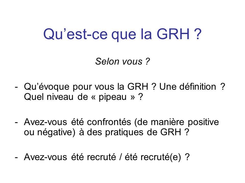 Quest-ce que la GRH ? Selon vous ? -Quévoque pour vous la GRH ? Une définition ? Quel niveau de « pipeau » ? -Avez-vous été confrontés (de manière pos