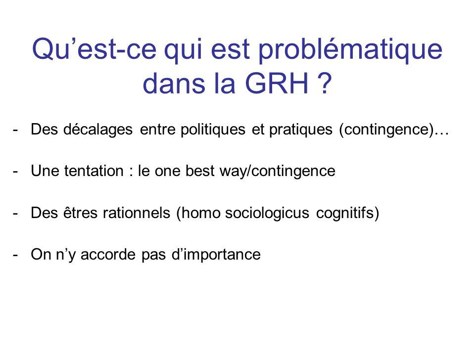Quest-ce qui est problématique dans la GRH ? -Des décalages entre politiques et pratiques (contingence)… -Une tentation : le one best way/contingence