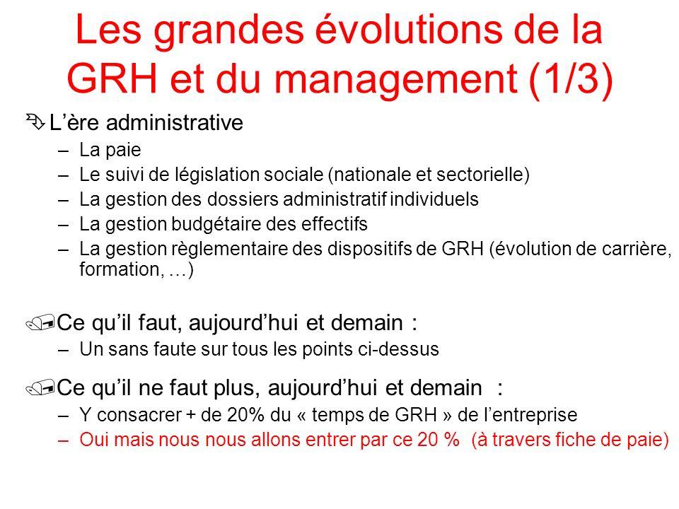 Les grandes évolutions de la GRH et du management (1/3) ÊLère administrative –La paie –Le suivi de législation sociale (nationale et sectorielle) –La