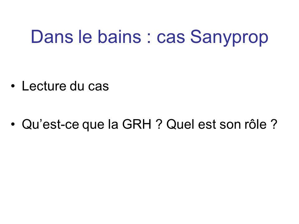 Dans le bains : cas Sanyprop Lecture du cas Quest-ce que la GRH ? Quel est son rôle ?