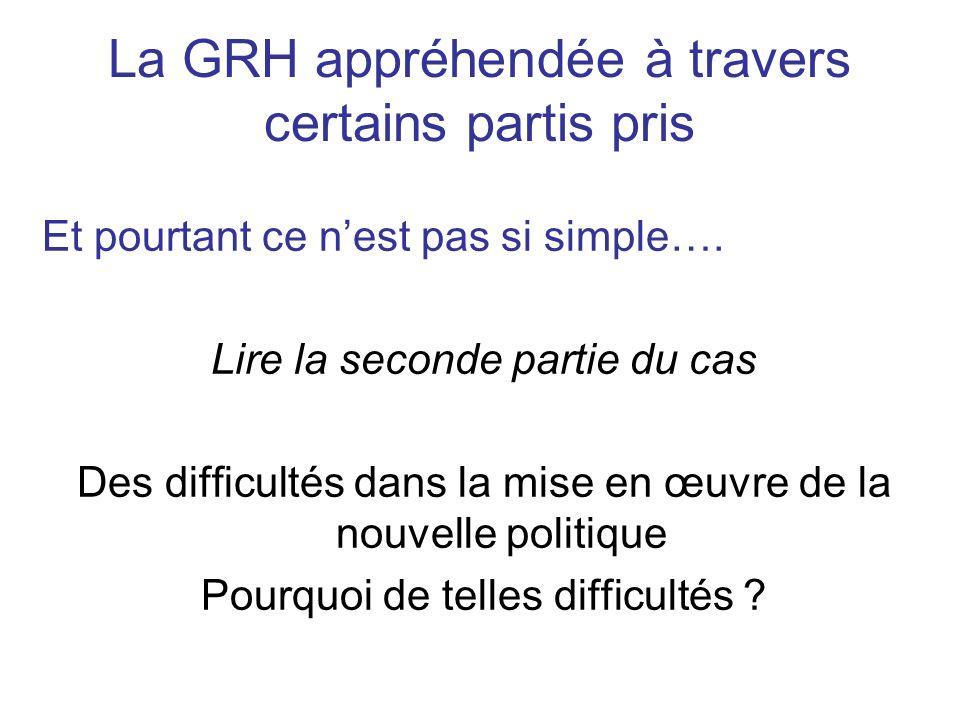 La GRH appréhendée à travers certains partis pris Et pourtant ce nest pas si simple…. Lire la seconde partie du cas Des difficultés dans la mise en œu