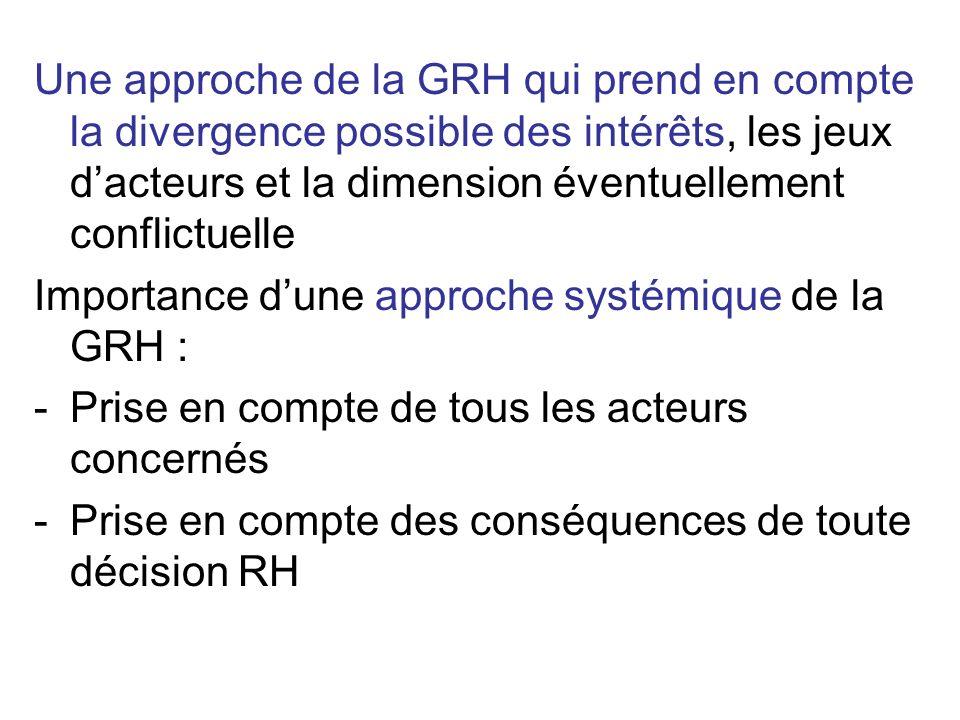 Une approche de la GRH qui prend en compte la divergence possible des intérêts, les jeux dacteurs et la dimension éventuellement conflictuelle Importa