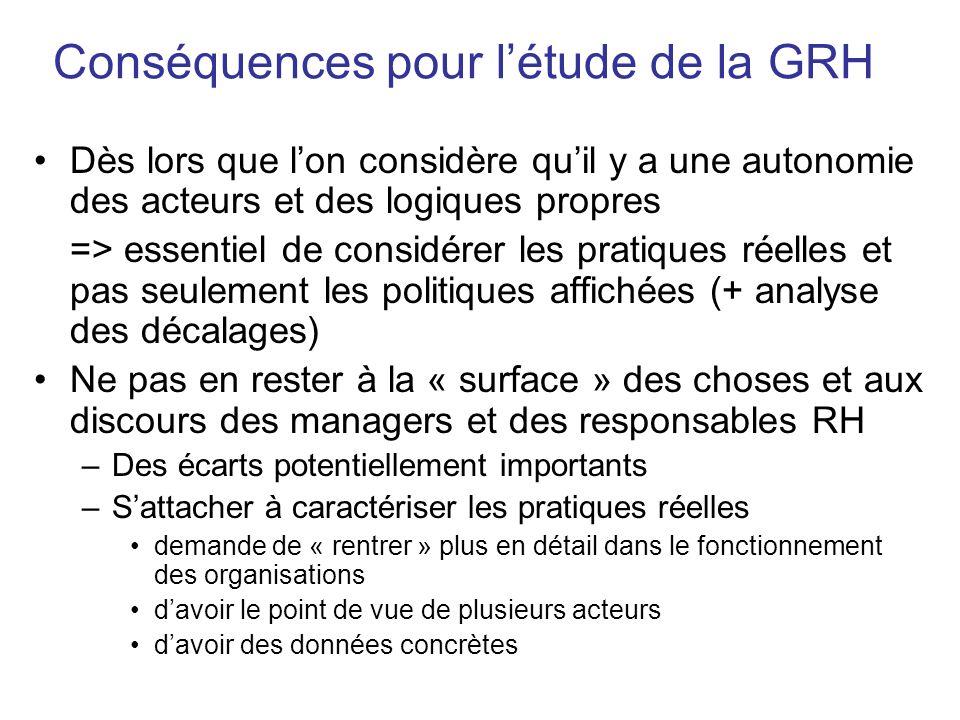 Conséquences pour létude de la GRH Dès lors que lon considère quil y a une autonomie des acteurs et des logiques propres => essentiel de considérer le