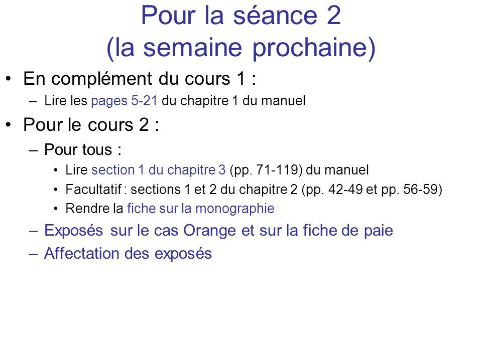 Pour la séance 2 (la semaine prochaine) En complément du cours 1 : –Lire les pages 5-21 du chapitre 1 du manuel Pour le cours 2 : –Pour tous : Lire se