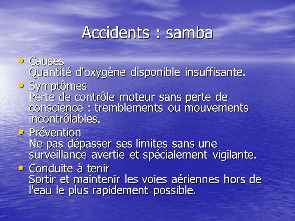 Accidents : samba Causes Quantité d'oxygène disponible insuffisante. Causes Quantité d'oxygène disponible insuffisante. Symptômes Perte de contrôle mo