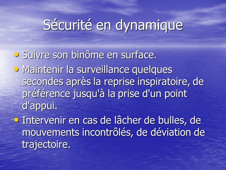 Sécurité en dynamique Suivre son binôme en surface. Suivre son binôme en surface. Maintenir la surveillance quelques secondes après la reprise inspira