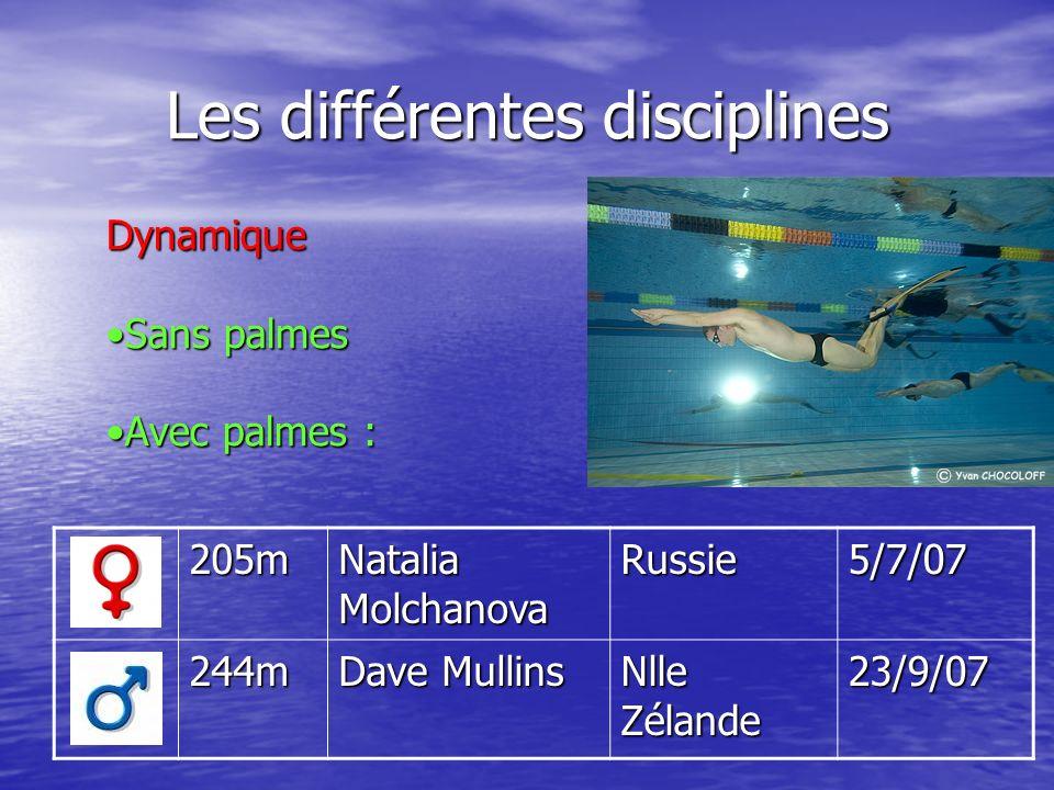 Les différentes disciplines 205m Natalia Molchanova Russie5/7/07 244m Dave Mullins Nlle Zélande 23/9/07 Dynamique Sans palmesSans palmes Avec palmes :