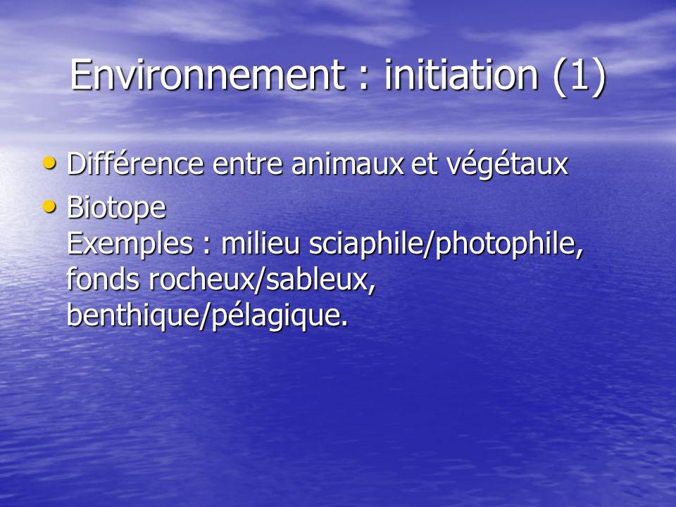 Environnement : initiation (1) Différence entre animaux et végétaux Différence entre animaux et végétaux Biotope Exemples : milieu sciaphile/photophil