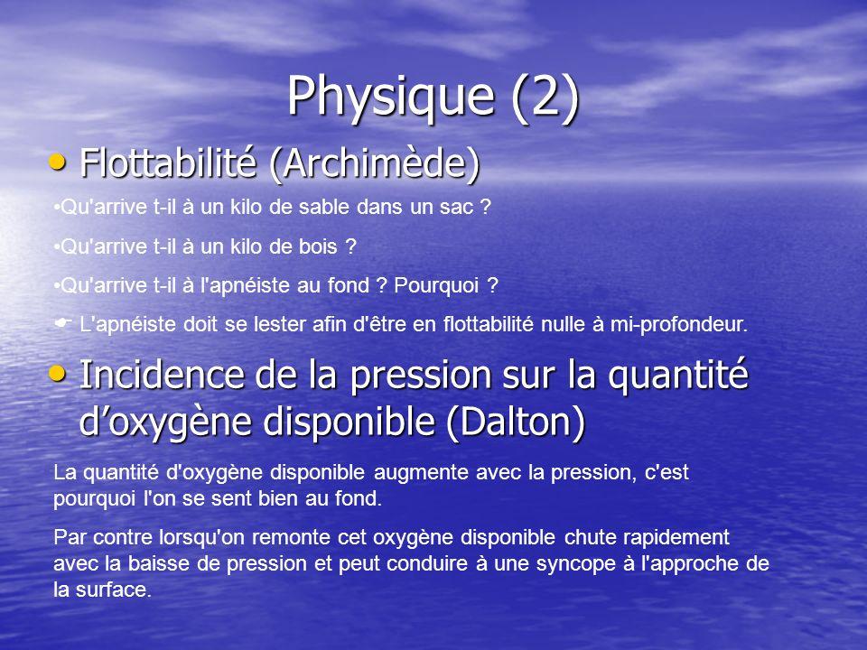 Physique (2) Flottabilité (Archimède) Flottabilité (Archimède) Incidence de la pression sur la quantité doxygène disponible (Dalton) Incidence de la p