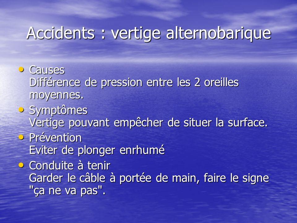 Accidents : vertige alternobarique Causes Différence de pression entre les 2 oreilles moyennes. Causes Différence de pression entre les 2 oreilles moy