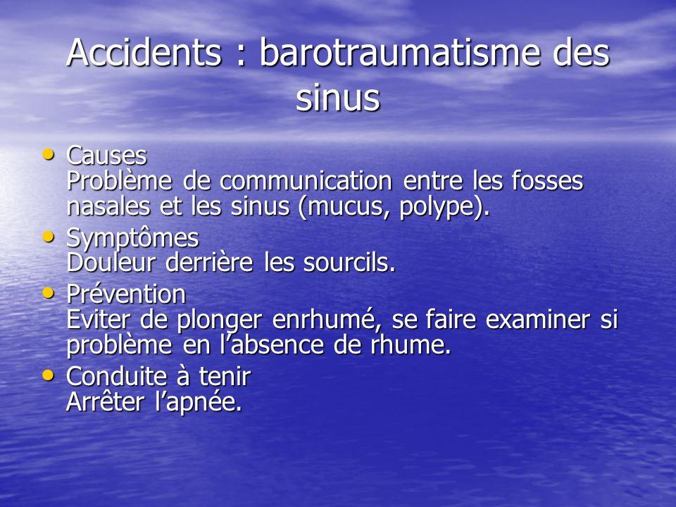 Accidents : barotraumatisme des sinus Causes Problème de communication entre les fosses nasales et les sinus (mucus, polype). Causes Problème de commu