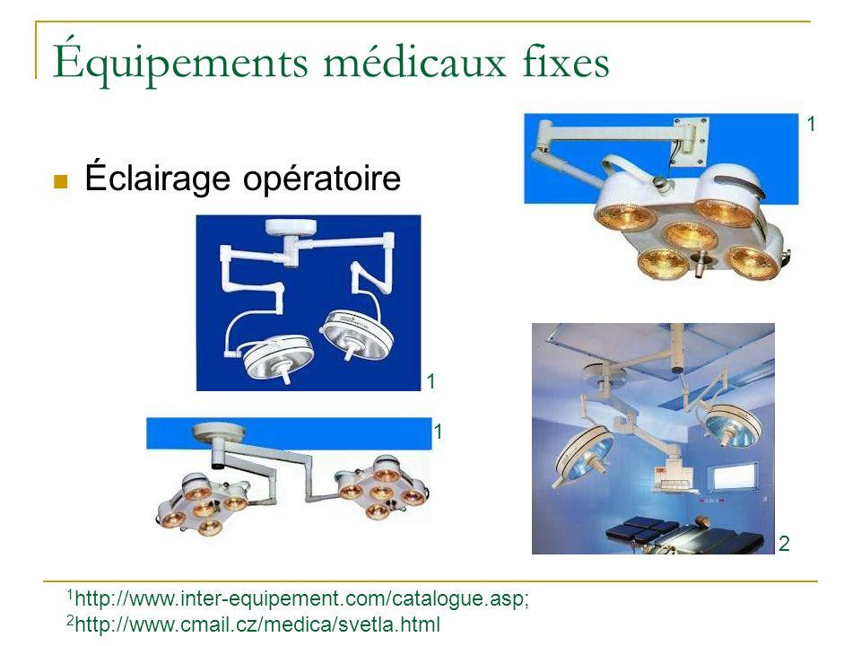 Équipements médicaux fixes Éclairage opératoire 1 http://www.inter-equipement.com/catalogue.asp; 2 http://www.cmail.cz/medica/svetla.html 1 1 1 2
