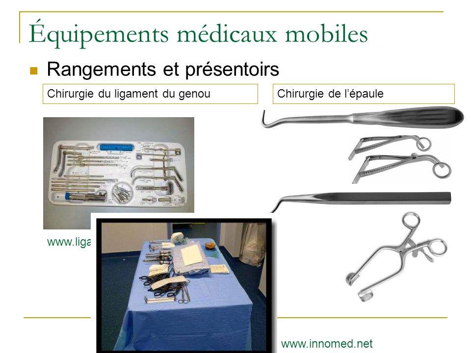 Équipements médicaux mobiles Rangements et présentoirs www.ligamentlars.com Chirurgie de lépauleChirurgie du ligament du genou www.innomed.net