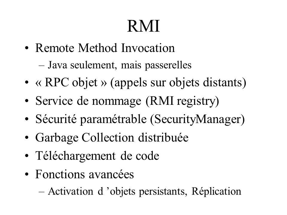 RMI Remote Method Invocation –Java seulement, mais passerelles « RPC objet » (appels sur objets distants) Service de nommage (RMI registry) Sécurité p