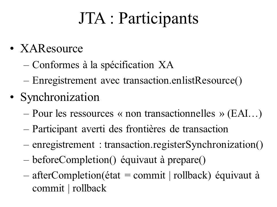 JTA : Participants XAResource –Conformes à la spécification XA –Enregistrement avec transaction.enlistResource() Synchronization –Pour les ressources