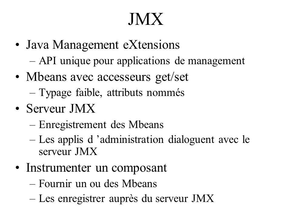 JMX Java Management eXtensions –API unique pour applications de management Mbeans avec accesseurs get/set –Typage faible, attributs nommés Serveur JMX