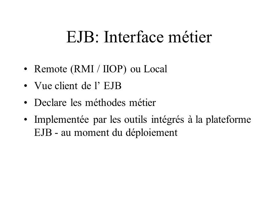 EJB: Interface métier Remote (RMI / IIOP) ou Local Vue client de l EJB Declare les méthodes métier Implementée par les outils intégrés à la plateforme