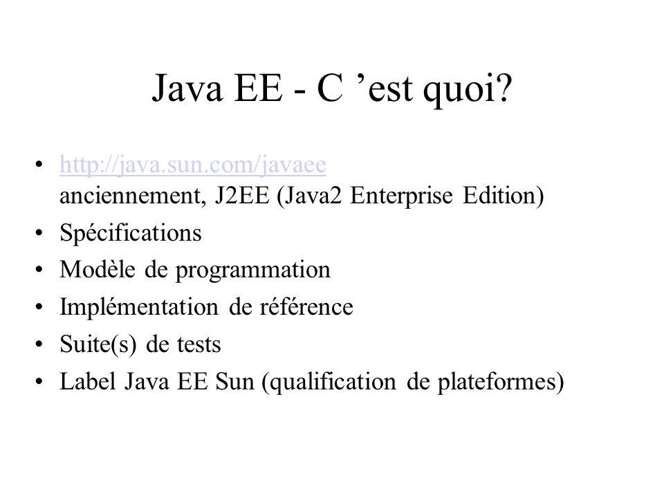 Java EE - C est quoi? http://java.sun.com/javaee anciennement, J2EE (Java2 Enterprise Edition)http://java.sun.com/javaee Spécifications Modèle de prog