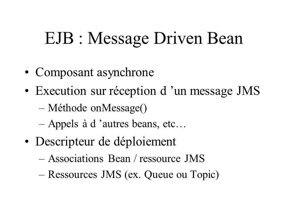 EJB : Message Driven Bean Composant asynchrone Execution sur réception d un message JMS –Méthode onMessage() –Appels à d autres beans, etc… Descripteu