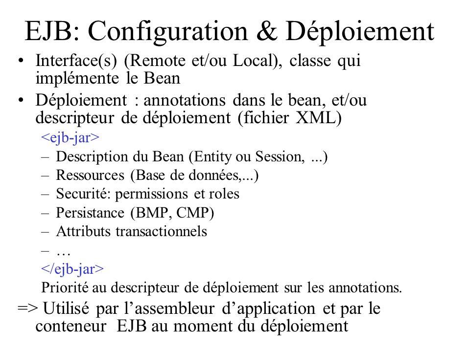 EJB: Configuration & Déploiement Interface(s) (Remote et/ou Local), classe qui implémente le Bean Déploiement : annotations dans le bean, et/ou descri