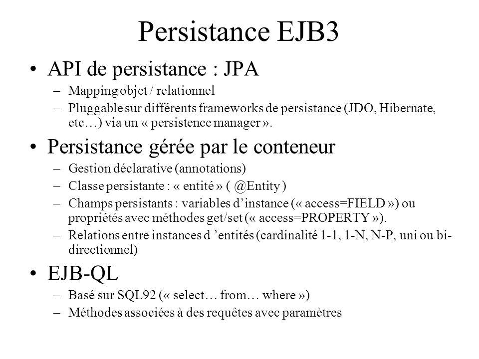 Persistance EJB3 API de persistance : JPA –Mapping objet / relationnel –Pluggable sur différents frameworks de persistance (JDO, Hibernate, etc…) via