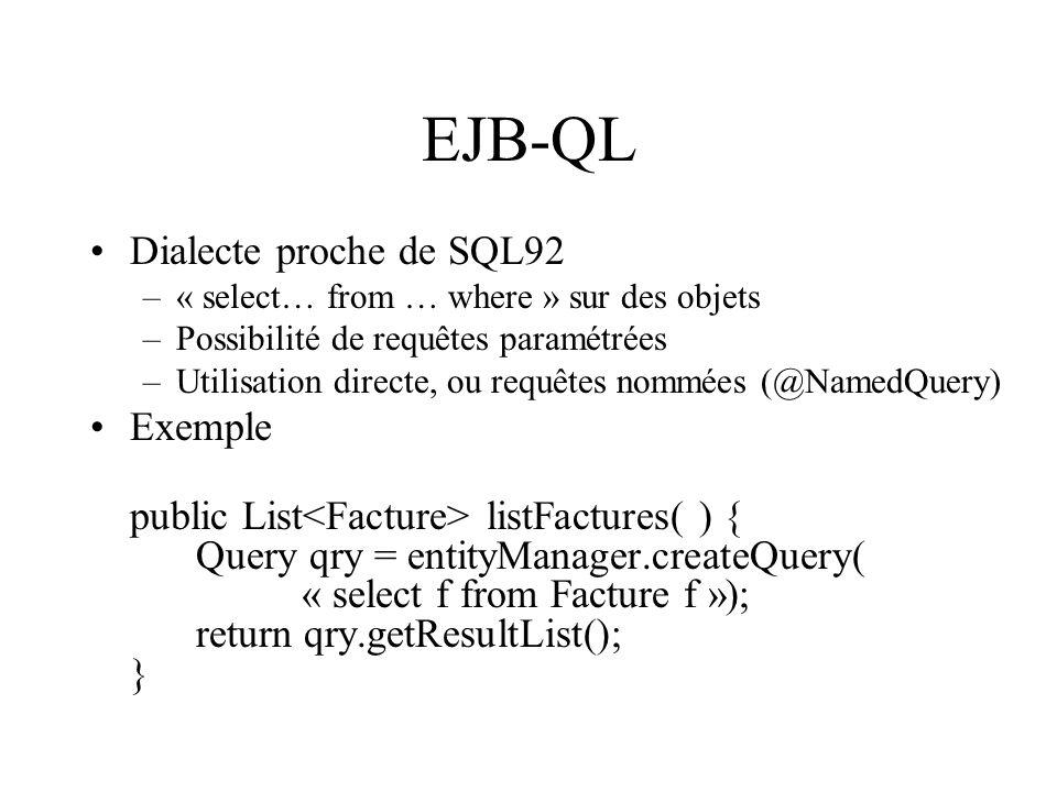 EJB-QL Dialecte proche de SQL92 –« select… from … where » sur des objets –Possibilité de requêtes paramétrées –Utilisation directe, ou requêtes nommée