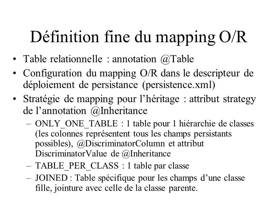Définition fine du mapping O/R Table relationnelle : annotation @Table Configuration du mapping O/R dans le descripteur de déploiement de persistance
