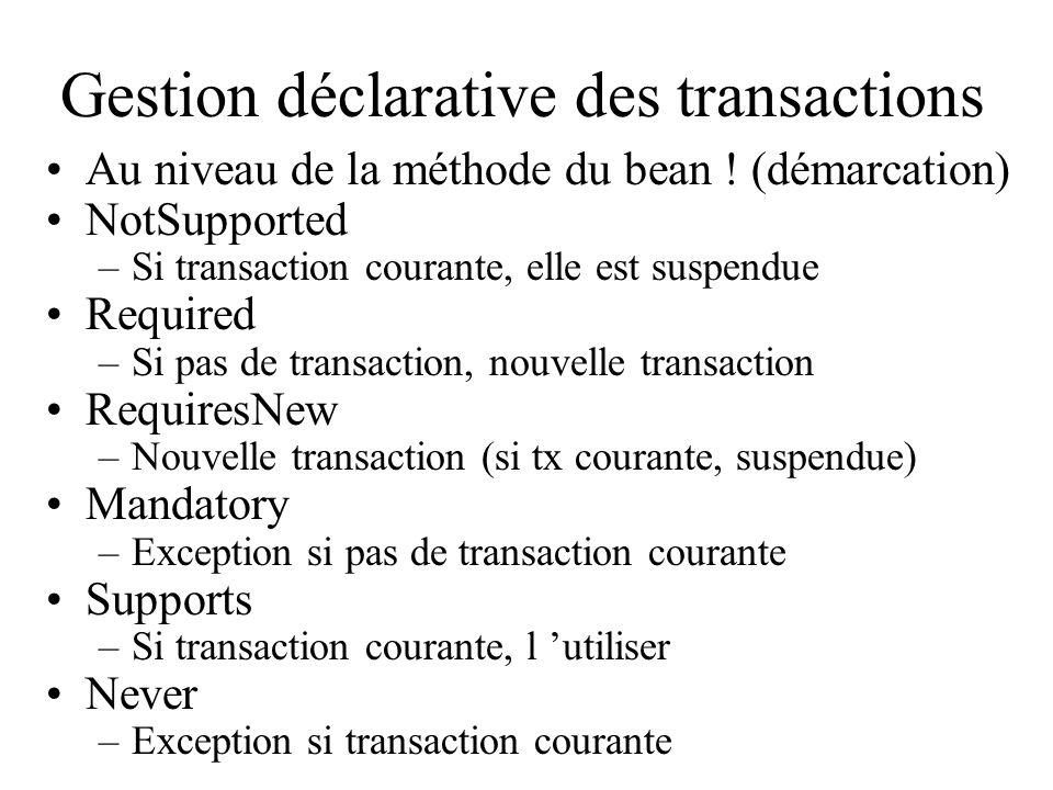 Gestion déclarative des transactions Au niveau de la méthode du bean ! (démarcation) NotSupported –Si transaction courante, elle est suspendue Require