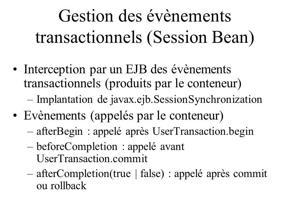 Gestion des évènements transactionnels (Session Bean) Interception par un EJB des évènements transactionnels (produits par le conteneur) –Implantation