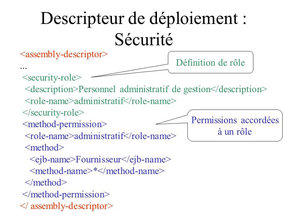 Descripteur de déploiement : Sécurité... Personnel administratif de gestion administratif administratif Fournisseur * Définition de rôle Permissions a