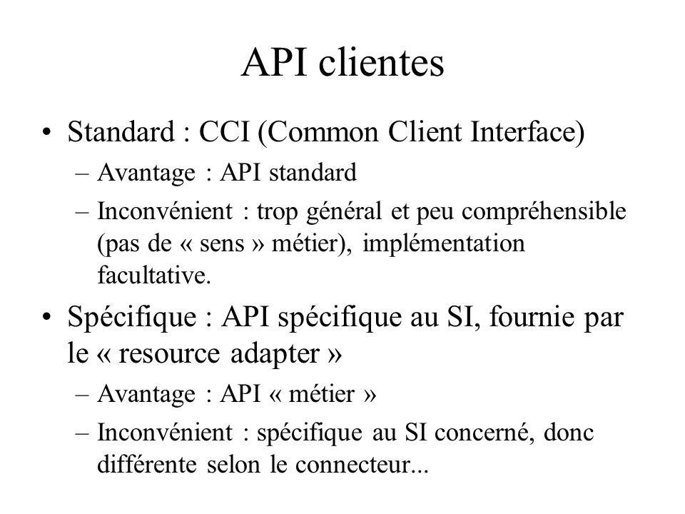 API clientes Standard : CCI (Common Client Interface) –Avantage : API standard –Inconvénient : trop général et peu compréhensible (pas de « sens » mét