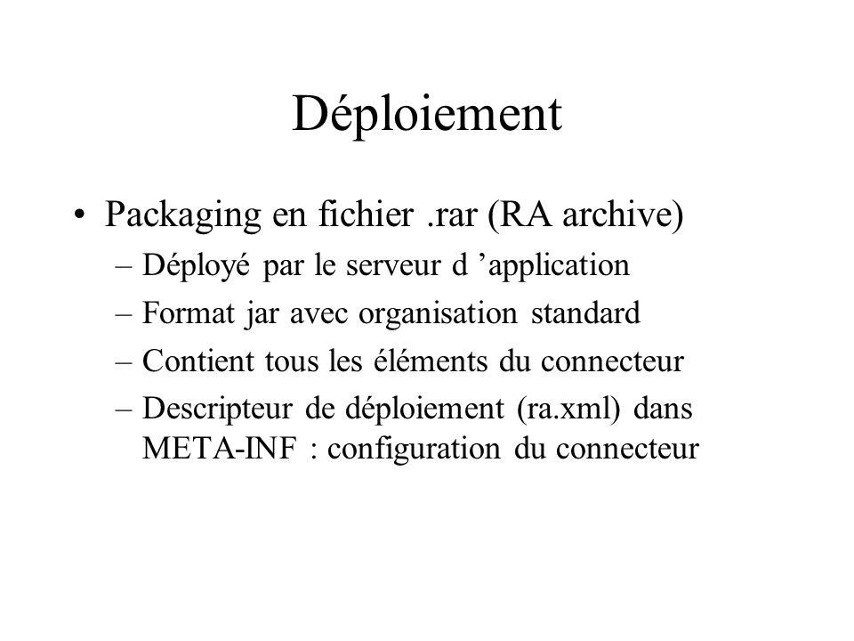 Déploiement Packaging en fichier.rar (RA archive) –Déployé par le serveur d application –Format jar avec organisation standard –Contient tous les élém
