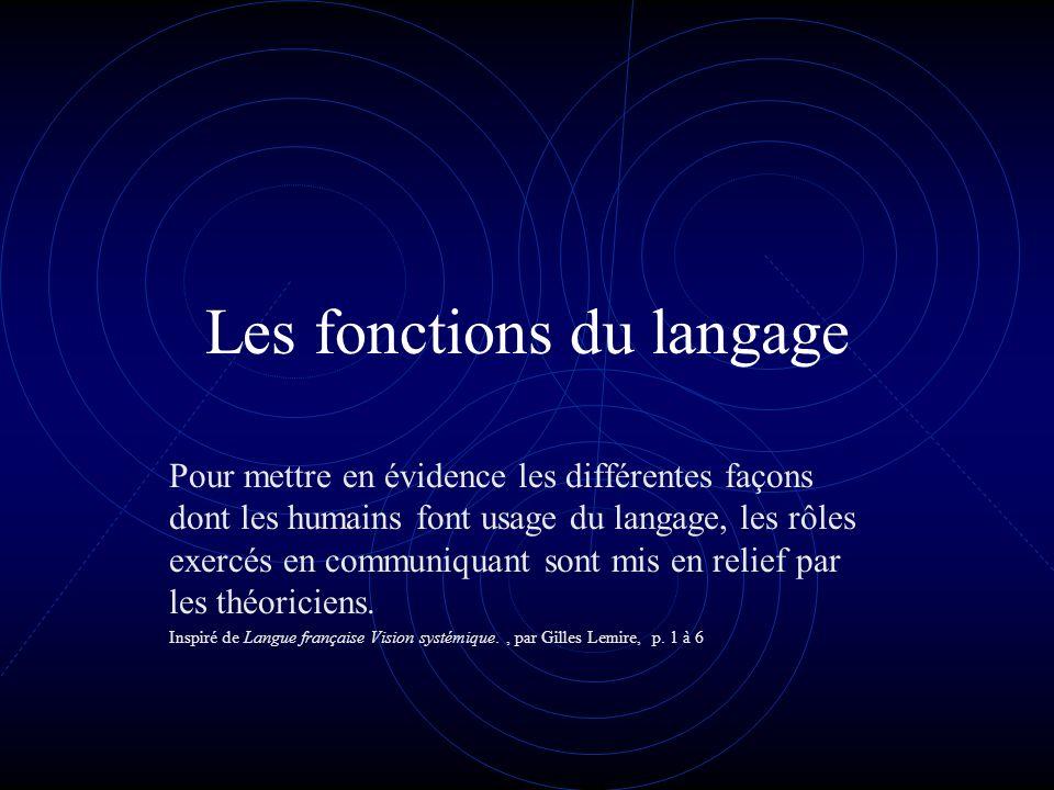 Les fonctions du langage Pour mettre en évidence les différentes façons dont les humains font usage du langage, les rôles exercés en communiquant sont mis en relief par les théoriciens.
