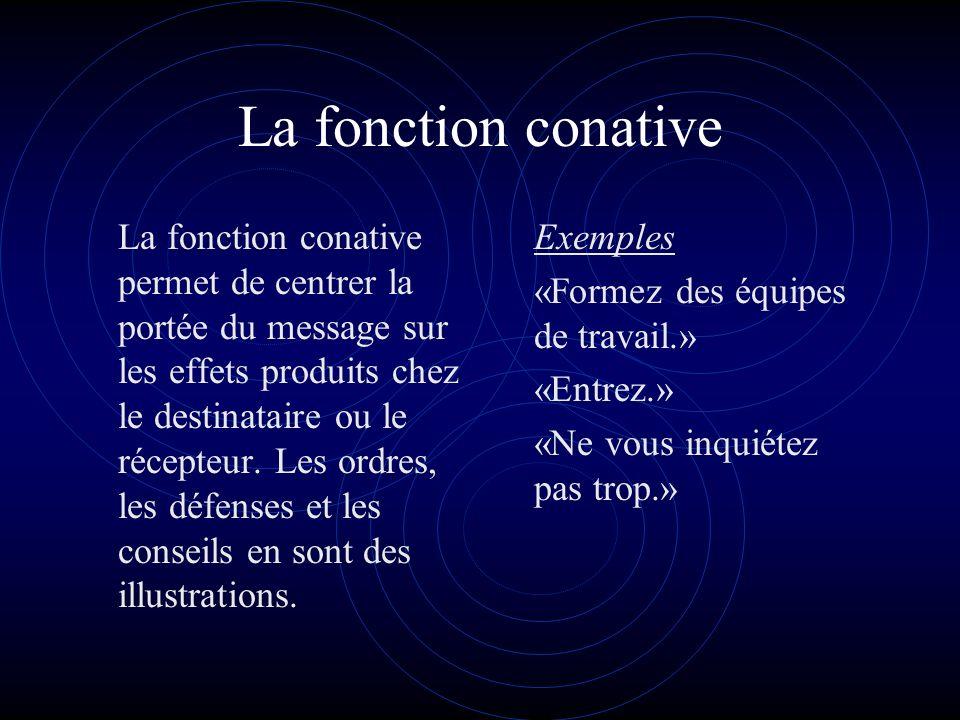 La fonction conative La fonction conative permet de centrer la portée du message sur les effets produits chez le destinataire ou le récepteur.
