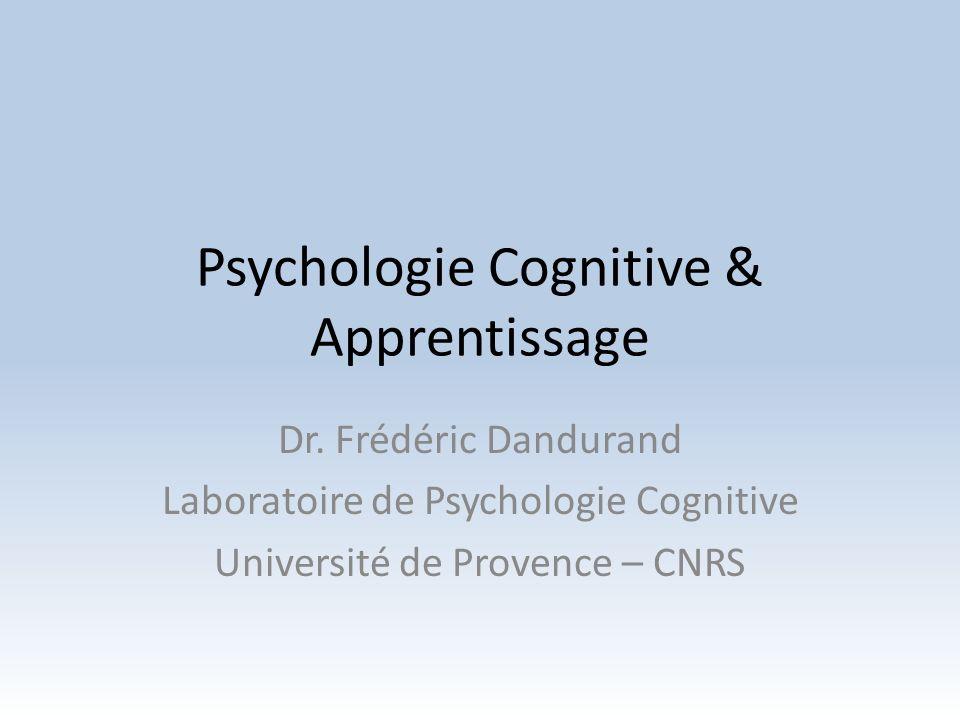 Plan du cours Introduction à la psychologie cognitive Résultats expérimentaux détudes sur lapprentissage en contexte de résolution de problèmes Trucs pratiques pour améliorer votre apprentissage