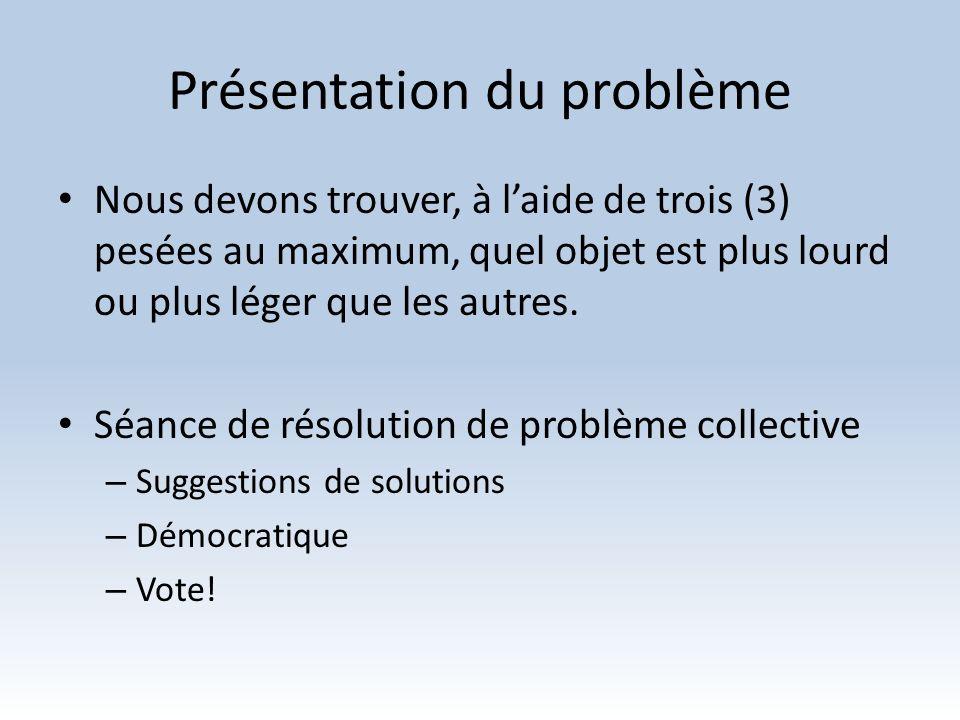 Présentation du problème Nous devons trouver, à laide de trois (3) pesées au maximum, quel objet est plus lourd ou plus léger que les autres. Séance d
