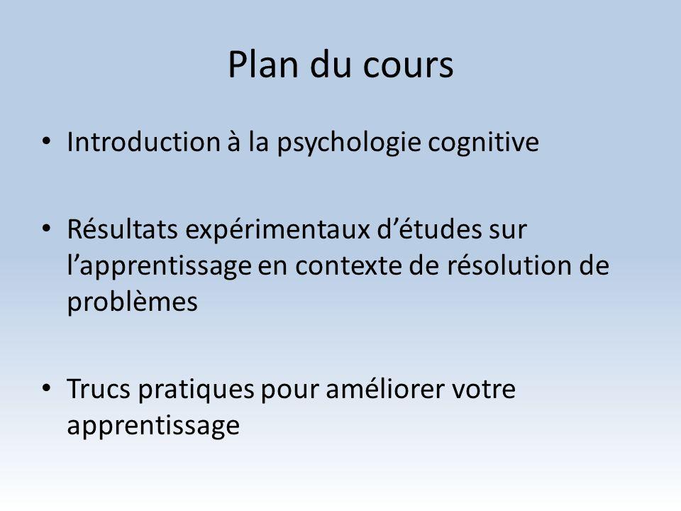 Plan du cours Introduction à la psychologie cognitive Résultats expérimentaux détudes sur lapprentissage en contexte de résolution de problèmes Trucs