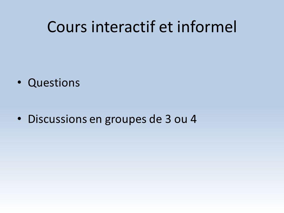 Cours interactif et informel Questions Discussions en groupes de 3 ou 4
