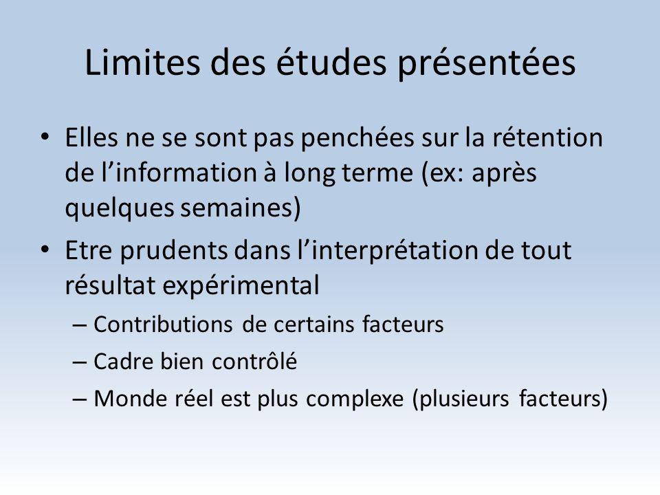 Limites des études présentées Elles ne se sont pas penchées sur la rétention de linformation à long terme (ex: après quelques semaines) Etre prudents