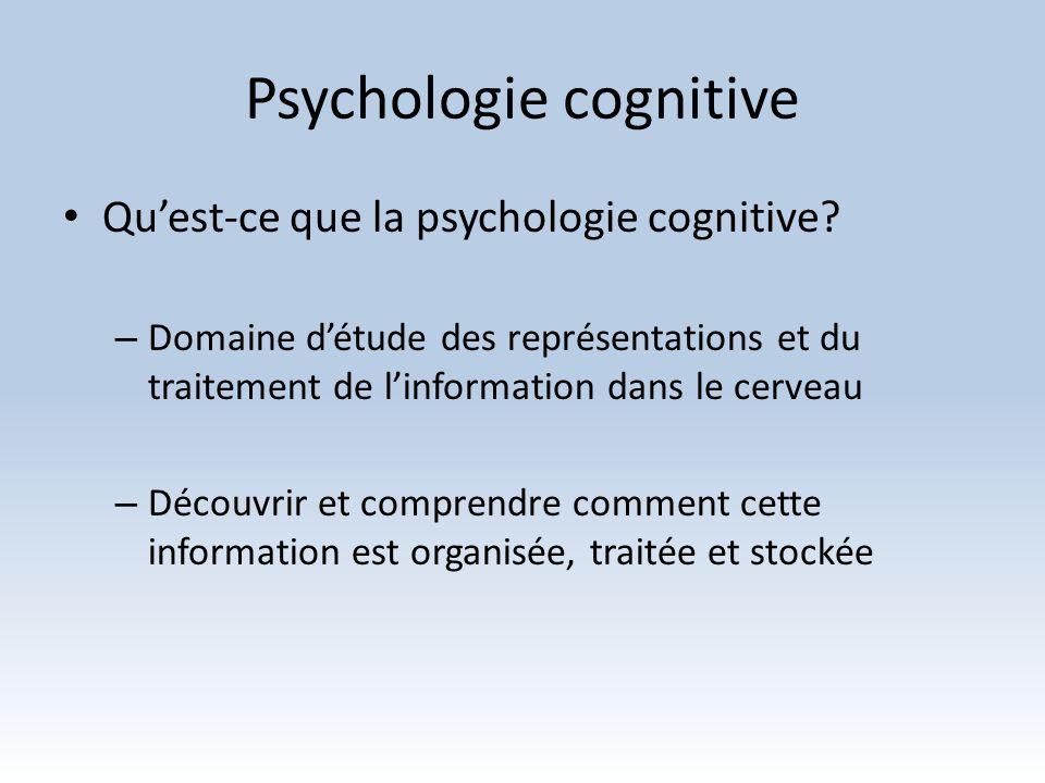 Psychologie cognitive Quels en sont les domaines ou sujets détude.