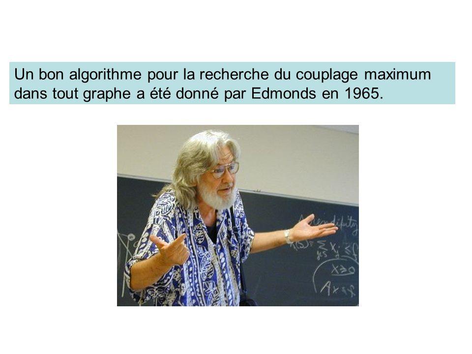 Un bon algorithme pour la recherche du couplage maximum dans tout graphe a été donné par Edmonds en 1965.