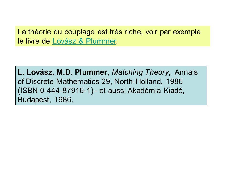 La théorie du couplage est très riche, voir par exemple le livre de Lovász & Plummer.Lovász & Plummer L. Lovász, M.D. Plummer, Matching Theory, Annals
