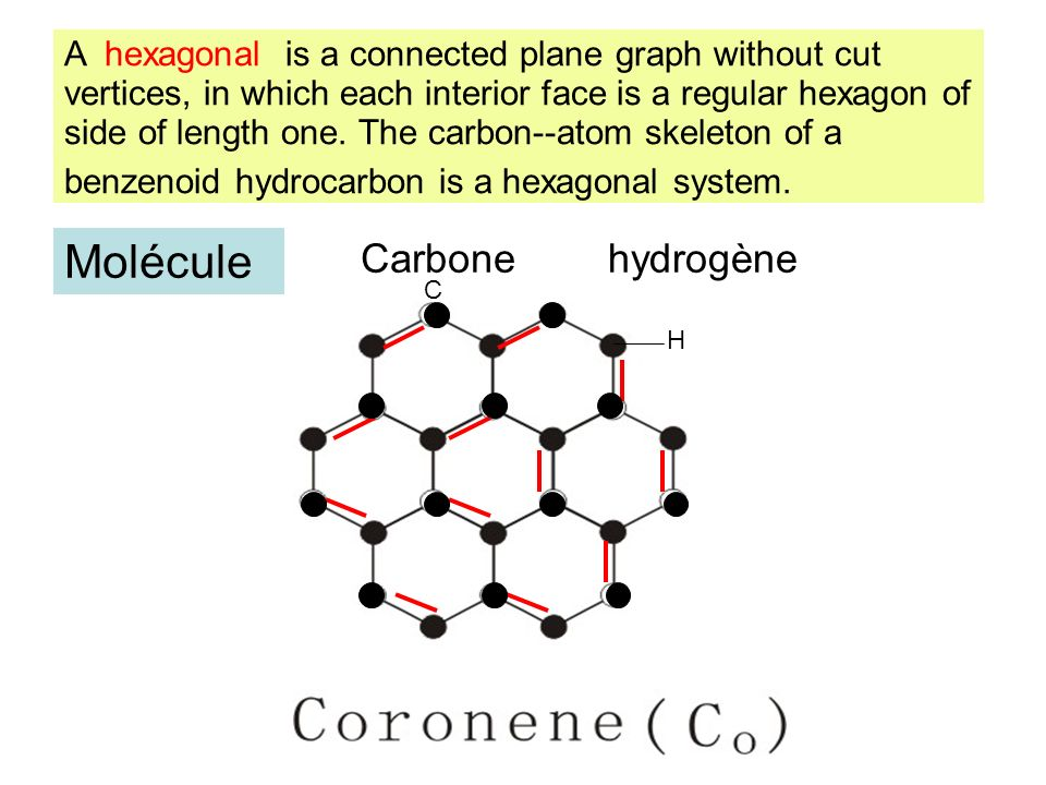 A hexagonal is a connected plane graph without cut vertices, in which each interior face is a regular hexagon of side of length one. The carbon--atom