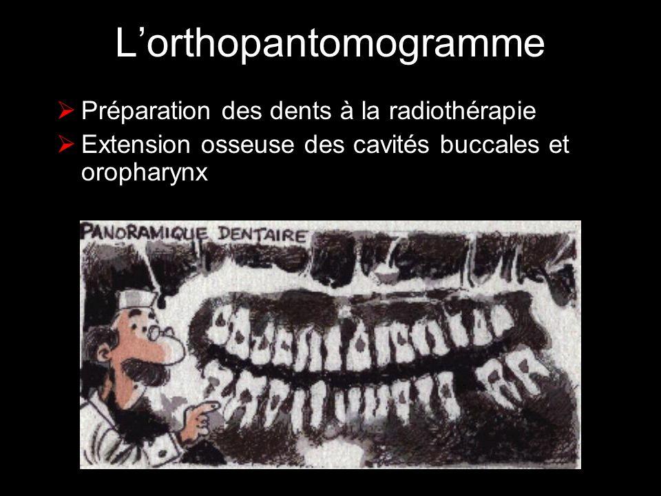 Lorthopantomogramme Préparation des dents à la radiothérapie Extension osseuse des cavités buccales et oropharynx