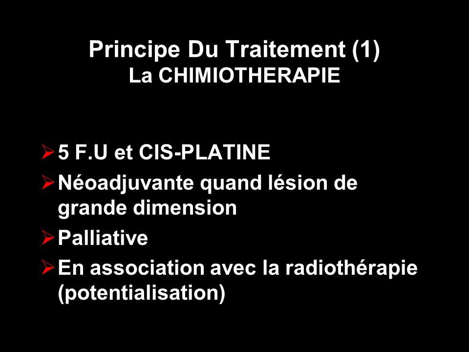 Principe Du Traitement (1) La CHIMIOTHERAPIE 5 F.U et CIS-PLATINE Néoadjuvante quand lésion de grande dimension Palliative En association avec la radi