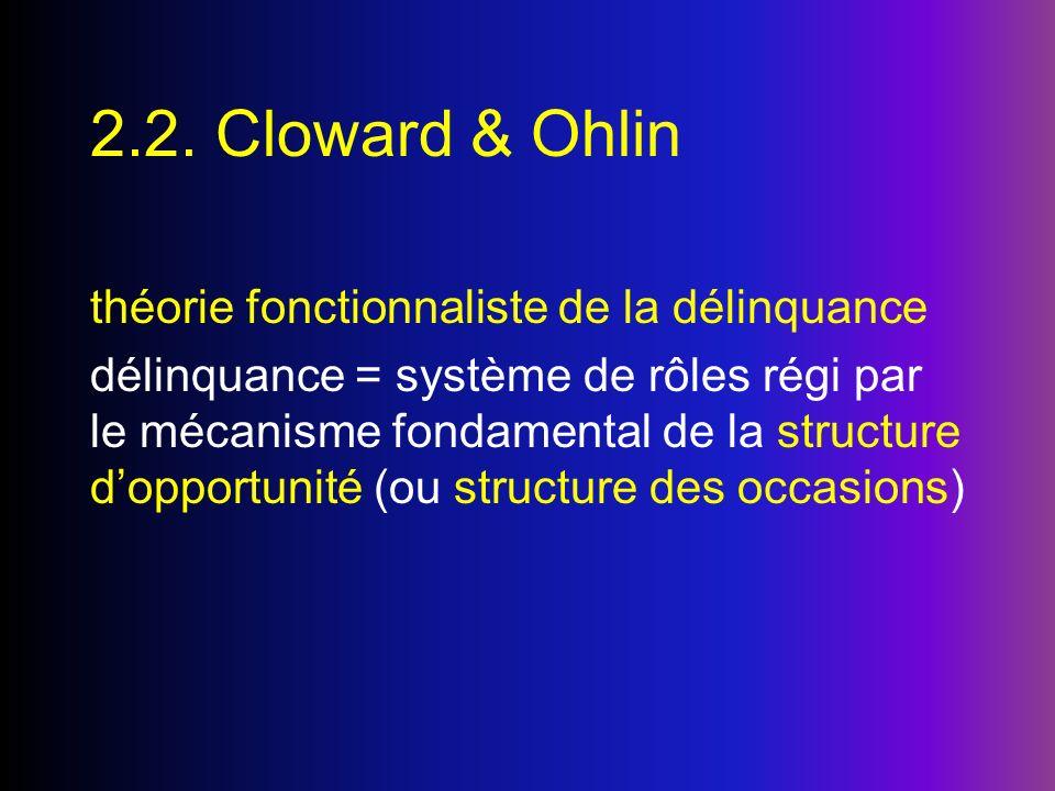 2.2. Cloward & Ohlin théorie fonctionnaliste de la délinquance délinquance = système de rôles régi par le mécanisme fondamental de la structure doppor