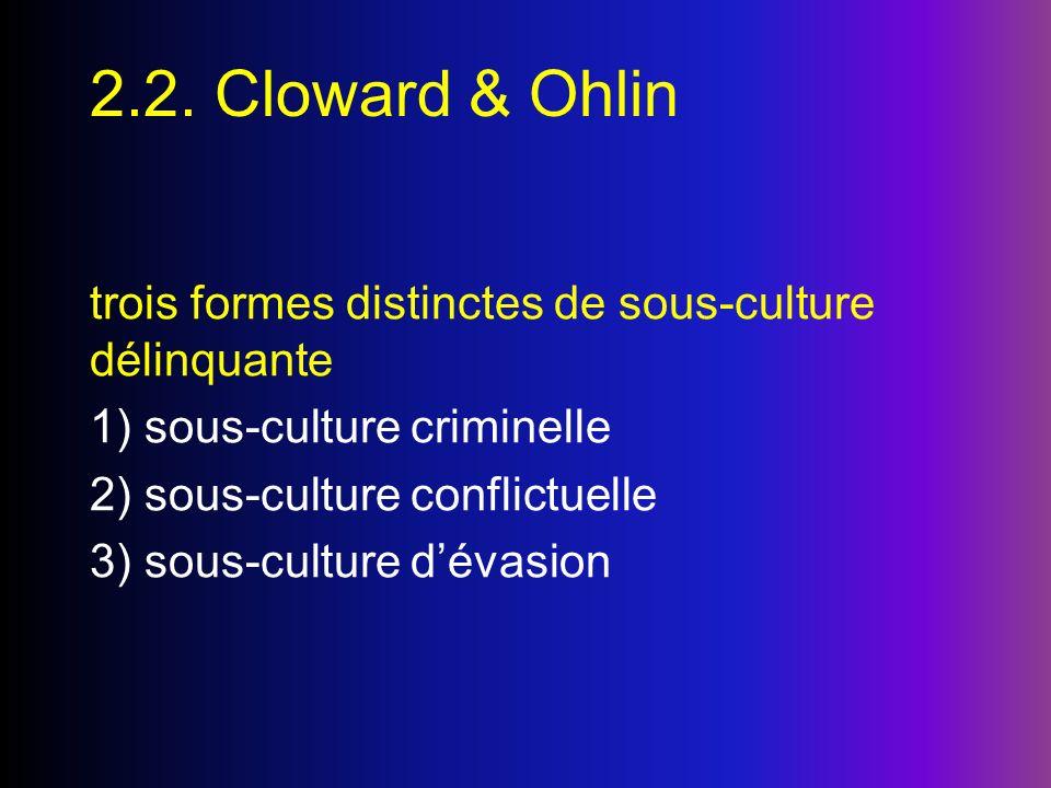 2.2. Cloward & Ohlin trois formes distinctes de sous-culture délinquante 1) sous-culture criminelle 2) sous-culture conflictuelle 3) sous-culture déva