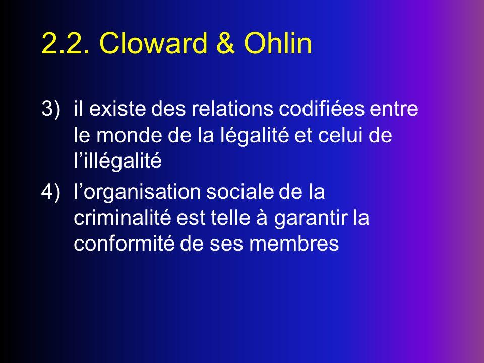2.2. Cloward & Ohlin 3)il existe des relations codifiées entre le monde de la légalité et celui de lillégalité 4)lorganisation sociale de la criminali