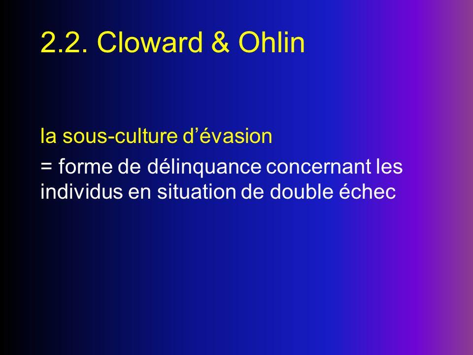 2.2. Cloward & Ohlin la sous-culture dévasion = forme de délinquance concernant les individus en situation de double échec